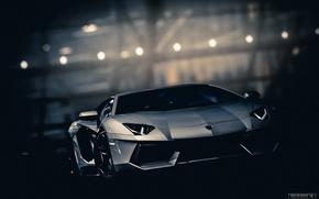 Картинка дорога, ночь, Lamborghini