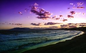 Картинка море, волны, пляж, облака, закат, сиреневый