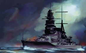 Картинка море, небо, живопись, линкор, японского, флота, императорского, «Муцу»