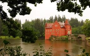 Картинка лес, деревья, пруд, Замок