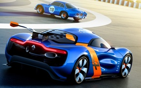 Картинка Concept, концепт, Renault, Рено, вид сзади, гоночный трек, Алпайн, Alpine, A110-50