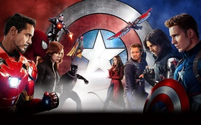 Картинка Scarlett Johansson, Vision, Iron Man, Falcon, Captain America, spider man, Black Widow, Robert Downey Jr., …