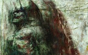 Картинка пасть, рога, дьявол, сатана, черные крылья, Devilman, by Go Nagai