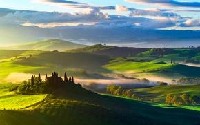 Обои италия, тоскана, утро, небо, облака