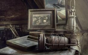 Картинка старина, лампы, фотография, пыль, зеркало