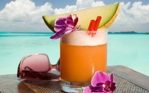 Картинка пляж, лето, фрукты, напитки