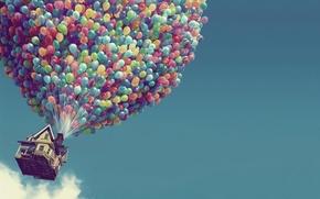 Обои шарики, дом, вверх, воздушные шары