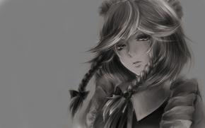 Обои девочка, взгляд, фон, картинка, ч/б, лицо, обои, косы, аниме