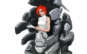 Обои взгляд, арт, фон, красные волосы, девушка, sci-fi, фантастика, робот, перчатки