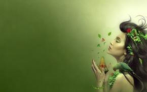 Картинка лето, листья, девушка, ягоды, волосы, рисунок, змея, попугай, ваза