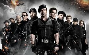 Обои The Expendables 2, Дольф Лундгрен, Джет Ли, Чак Норрис, Неудержимые 2, Сильвестр Сталлоне, Арнольд Шварценеггер, ...
