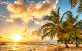 Картинка песок, море, пляж, закат, тропики, пальмы, берег, beach, sea, ocean, sunset, paradise, palms, tropical