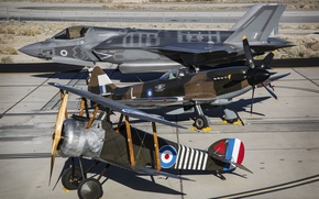 Картинка истребители, F-35B, Spitfire Mk. XIV, Camel (replica)