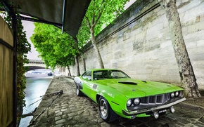 Картинка Car, Muscle, 1971, Barracuda, Plymouth, Green, USA