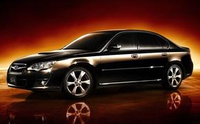 Картинка черный, Subaru, оптика, диски, хром, Legacy, спортивный седан