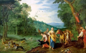 Картинка картина, мифология, Ян Брейгель младший, Диана на Охоте