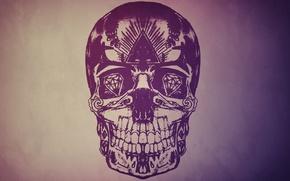 Картинка глаза, стиль, камни, фон, рисунок, череп, skull