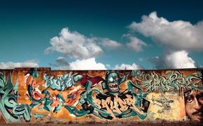Обои рисунок, небо, граффити, стена, улица