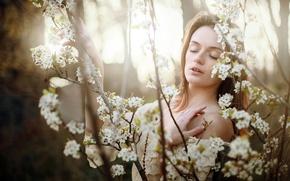 Картинка девушка, весна, сад