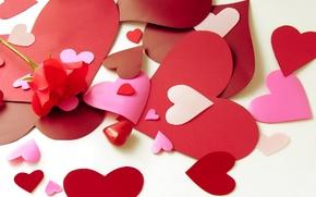 Картинка цветок, любовь, цветы, бумага, настроения, сердце, роза, сердечки, бумажные