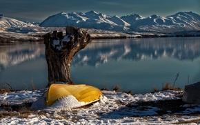 Картинка снег, озеро, лодка, New Zealand, Lake Tekapo, South Island, Lake Alexandrina