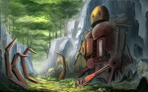 Картинка камни, фантастика, робот, арт, painting, Manu Micheler