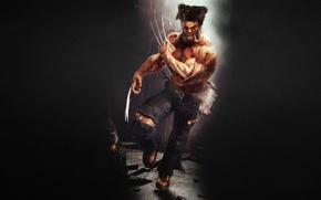 Картинка темный фон, дождь, бег, когти, сигара, злой, Росомаха, Логан, Wolverine, Marvel, x-men, Comics