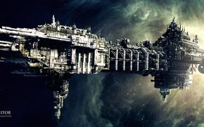 Картинка космос, туманность, фантастика, space, nebula, ship, Coteaz, Warhammer 40K animation, Battle barge, The Lord Inquisitor, …