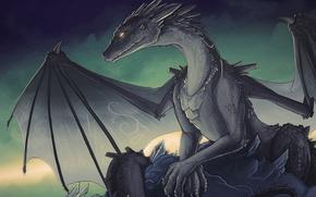 Обои глаз, дракон, крылья, знаки