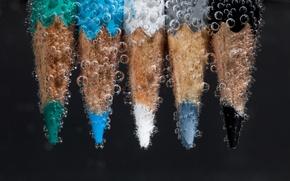 Картинка вода, макро, карандаши