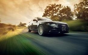 Картинка движение, скорость, black, Audi A4 B8, Vossen Wheels, Ronaldo Stewart