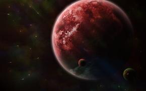 Картинка пространство, планета, кометы, спутники