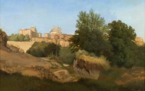 Картинка небо, пейзаж, замок, картина, собор, городок, италия, Gustaf Wilhelm Palm
