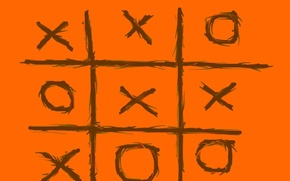 Обои крестики нолики, оранжевый