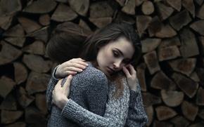 Картинка дрова, боке, обнимашки, две девушка, Vicki Heger