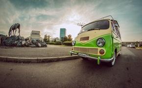 Картинка зеленый, ретро, фургон, красноярск, ераз, кофемобиль