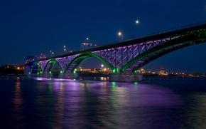 Картинка ночь, мост, город, огни, залив, Peace bridge