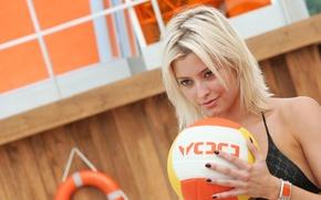 Картинка мяч, блондинка, Holly Valance, волейбол, DOA, Холли Вэлэнс, DOA: Dead or Alive, D.O.A.: Живым или …