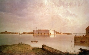 Картинка fortress, america, usa, harbour, paintings, illustration, civil war, fort, fortification, History, Deleware river, Seth Eastman, …
