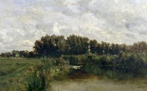 Картинка трава, деревья, пейзаж, природа, картина, Карлос де Хаэс, Озеро во Фрисландии