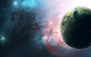 Обои Planets, Планета, Звезды, Space, Stars, Туманности, Blue, Earth