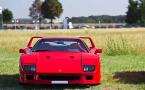 Картинка Красный, Авто, Машина, Феррари, Ferrari, F40, Фары, Суперкар, Supercar, Передок, Ferrari F40, F 40, Ferrari …