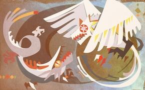 Картинка птица, дракон, рисунок, kemono no souja erin