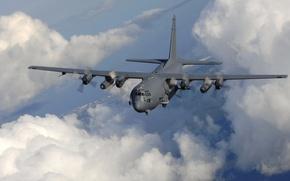 Обои самолет, полет, AC-130, небо, горизонт, облака