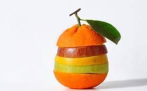 Картинка лимон, яблоко, апельсин