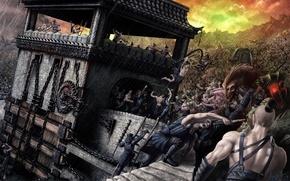 Картинка креатив, башня, монстры, битва, цепи, rain, булава, creative, people, самураи, дубина, monsters, battle, зубищи