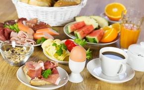 Картинка яйцо, кофе, арбуз, сыр, сок, фрукты, натюрморт, колбаса, ветчина