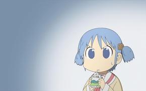 Картинка кубики, пакет, сок, школьница, школьная форма, синие волосы, Mio Naganohara, Мелочи жизни, My ordinary life, …