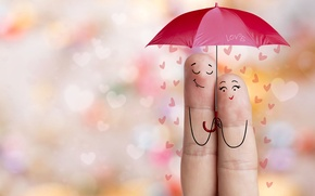 Картинка Сердце, Зонт, Праздник, Valentine's Day, День Святого Валентина