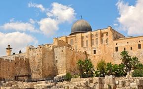 Обои небо, солнце, облака, камни, пальмы, храм, архитектура, дворец, Израиль, Jerusalem